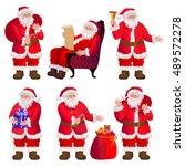 santa claus characters set.... | Shutterstock .eps vector #489572278
