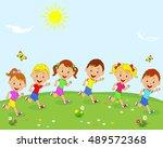kids boys and girls are running ... | Shutterstock .eps vector #489572368