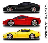 realistic sport car set. | Shutterstock .eps vector #489576124