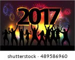 silhouettes celebrate the new... | Shutterstock .eps vector #489586960