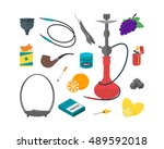 hookah icon set traditional... | Shutterstock .eps vector #489592018