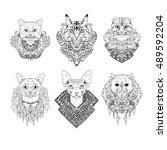 hand drawn cat faces. set of... | Shutterstock .eps vector #489592204