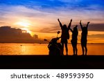 group of happy young girls... | Shutterstock . vector #489593950