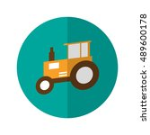 simple flat design tractor icon ...