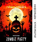 halloween party with pumpkins... | Shutterstock .eps vector #489603844