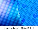 macro of silicon wafers. low dof | Shutterstock . vector #489605140