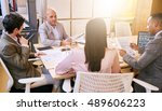 indoor meeting between 4... | Shutterstock . vector #489606223