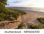 michigan summer beach vacation. ... | Shutterstock . vector #489606550