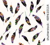 feathers seamless pattern  t... | Shutterstock .eps vector #489610114