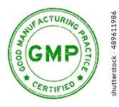 grunge green gmp certified... | Shutterstock .eps vector #489611986