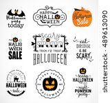 halloween party design elements ... | Shutterstock .eps vector #489613090