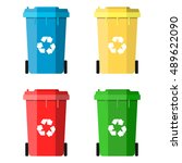 set recycle bins for trash and... | Shutterstock . vector #489622090