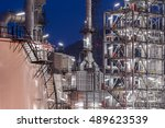 oil refinery factory ... | Shutterstock . vector #489623539