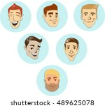 men head vector characters... | Shutterstock .eps vector #489625078
