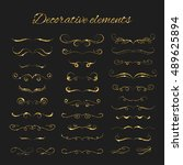 dividers set. vector gold... | Shutterstock .eps vector #489625894
