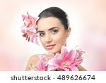 beautiful young woman with... | Shutterstock . vector #489626674