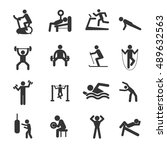 man people athletic gym... | Shutterstock .eps vector #489632563
