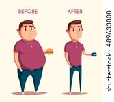 man before and after sports.... | Shutterstock .eps vector #489633808