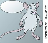 cheerful white mouse character... | Shutterstock .eps vector #489635794