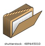 a stack of yellow folders... | Shutterstock .eps vector #489645010