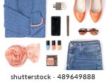woman clothes and accessories... | Shutterstock . vector #489649888