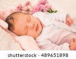 sweet dreams for a newborn baby ... | Shutterstock . vector #489651898