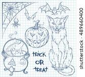 hand drawn halloween doodles... | Shutterstock .eps vector #489660400