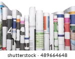 newspapers folded and stacked... | Shutterstock . vector #489664648