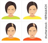 female hair loss stages set.... | Shutterstock . vector #489666424
