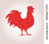red rooster on a light...   Shutterstock .eps vector #489667294