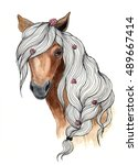 Stock photo watercolor illustration on a white background head of a brown horse animal silhouette sketch 489667414