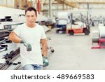 asian worker in production... | Shutterstock . vector #489669583