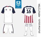 set of soccer jersey or... | Shutterstock .eps vector #489672784