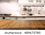 table in kitchen of retro chic... | Shutterstock . vector #489673780
