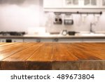table in kitchen of retro chic... | Shutterstock . vector #489673804