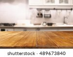 table in kitchen of retro chic... | Shutterstock . vector #489673840