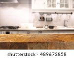 table in kitchen of retro chic... | Shutterstock . vector #489673858