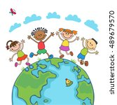 globe kids on globe.... | Shutterstock .eps vector #489679570