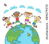 globe kids on globe.... | Shutterstock .eps vector #489679570