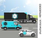blue transport advertising...   Shutterstock .eps vector #489680083