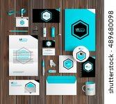 blue corporate identity... | Shutterstock .eps vector #489680098