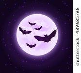 vector bats with moon.... | Shutterstock .eps vector #489685768