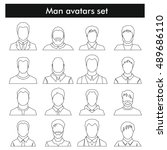 man avatars set in black line... | Shutterstock .eps vector #489686110