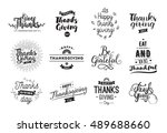 thanksgiving day typography set.... | Shutterstock .eps vector #489688660