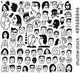 faces doodles  | Shutterstock .eps vector #489688846
