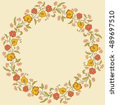 card with floral pattern.... | Shutterstock .eps vector #489697510