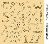 hand drawn style arrows set.... | Shutterstock .eps vector #489697810
