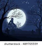 a halloween spooky haunted... | Shutterstock .eps vector #489705559