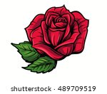 red rose cartoon style on white ... | Shutterstock .eps vector #489709519