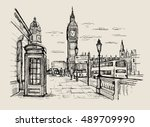 vector hand drawn landscape of... | Shutterstock .eps vector #489709990